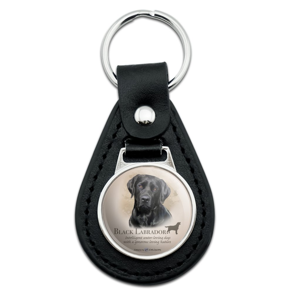 Black Lab Labrador Dog Breed Black Leather Keychain