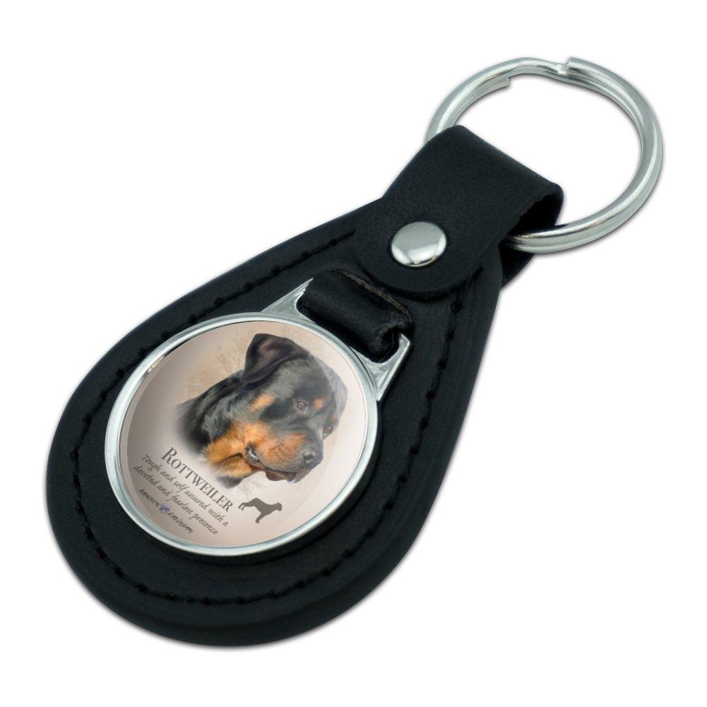 Black Leather  Rottweiler Rottie Dog Breed Keychain