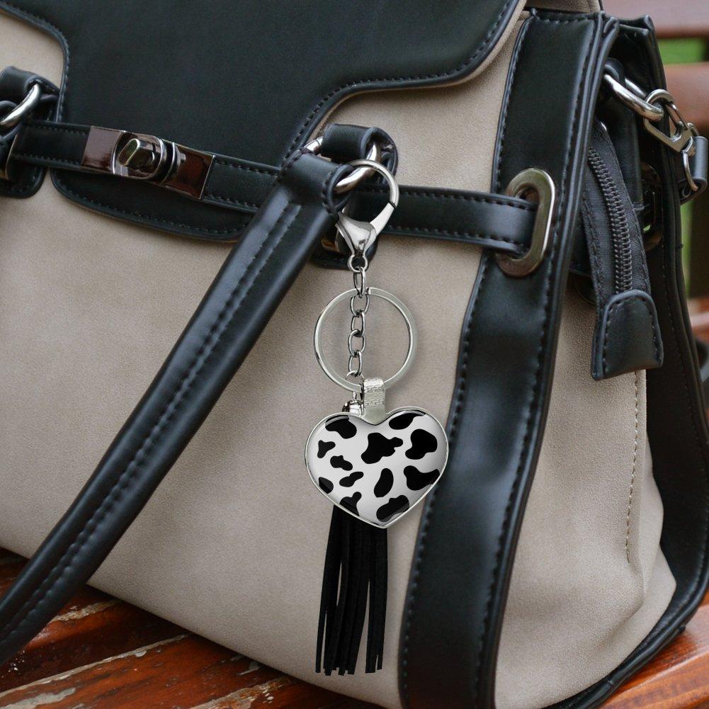 Udderly Cool Cow Farm Selfie Chrome Plated Metal Heart Leather Tassel Keychain