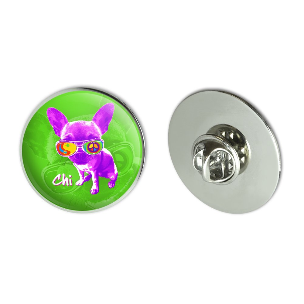"Sunglasses Lapel Pin: Chi Chihuahua Dog Sunglasses Retro 1.1"" Tie Tack Lapel Pin"