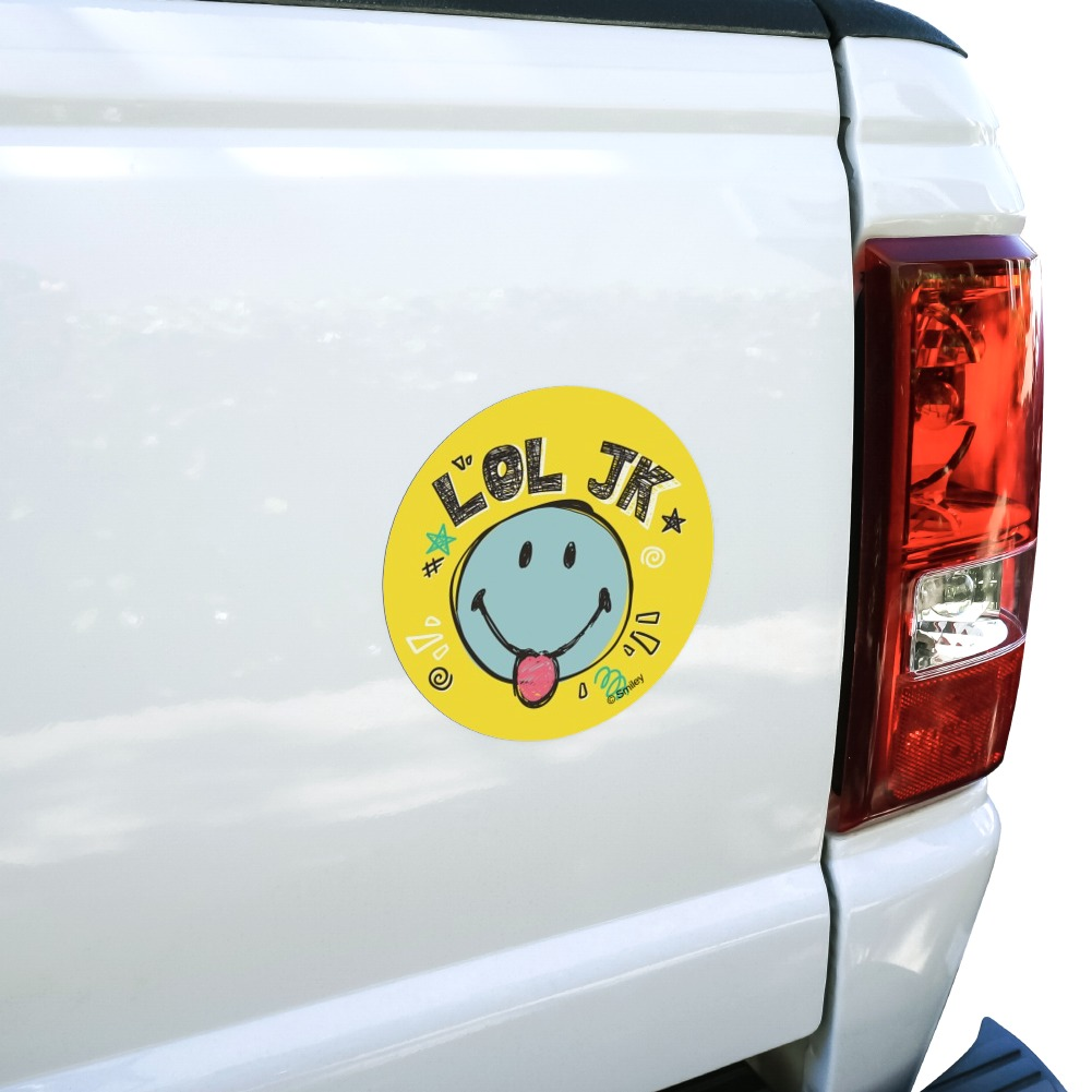 Lol Jk Smiley Face Just Kidding Tongue Car Circle Magnet