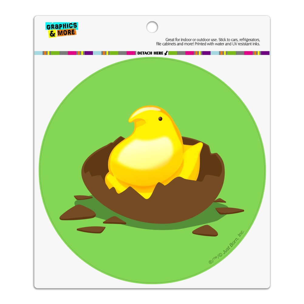 Peeps Hatching Out Of Chocolate Easter Egg  Automotive Car Vinyl Circle Magnet