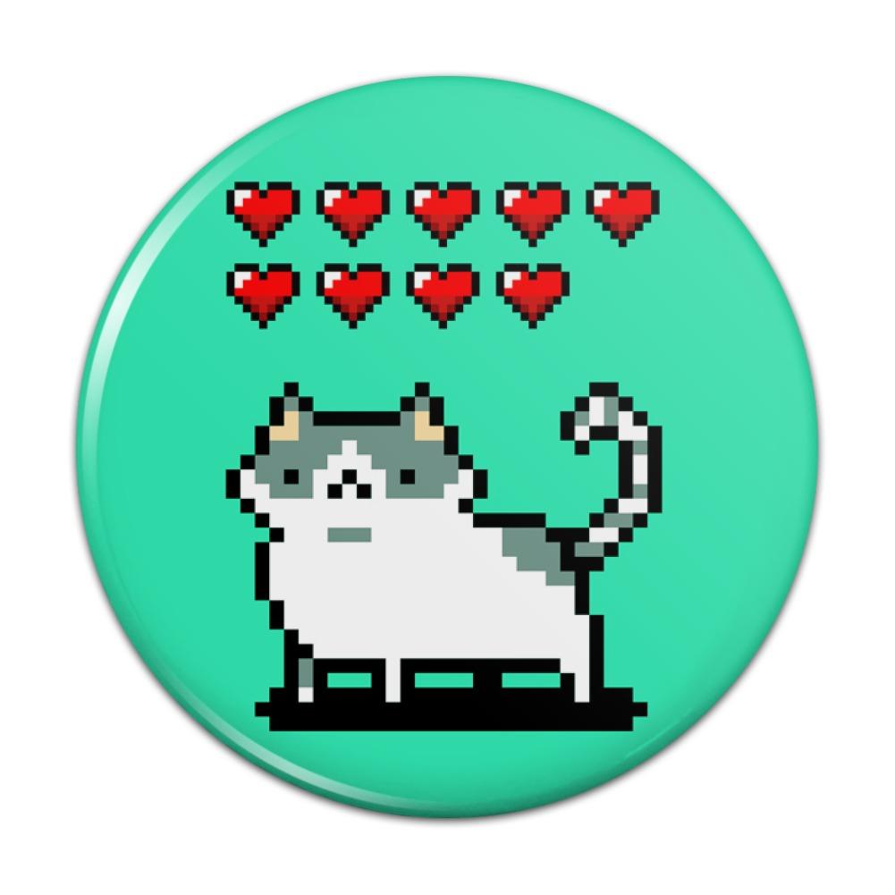 Nine Lives Cat Pixel Retro Game Kitchen Refrigerator Locker Button ...