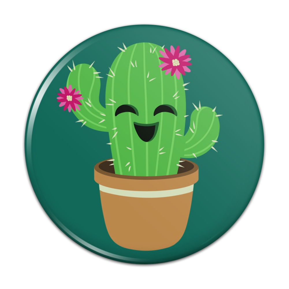 Cute Cactus In Pot With Pink Flowers Kitchen Refrigerator Locker