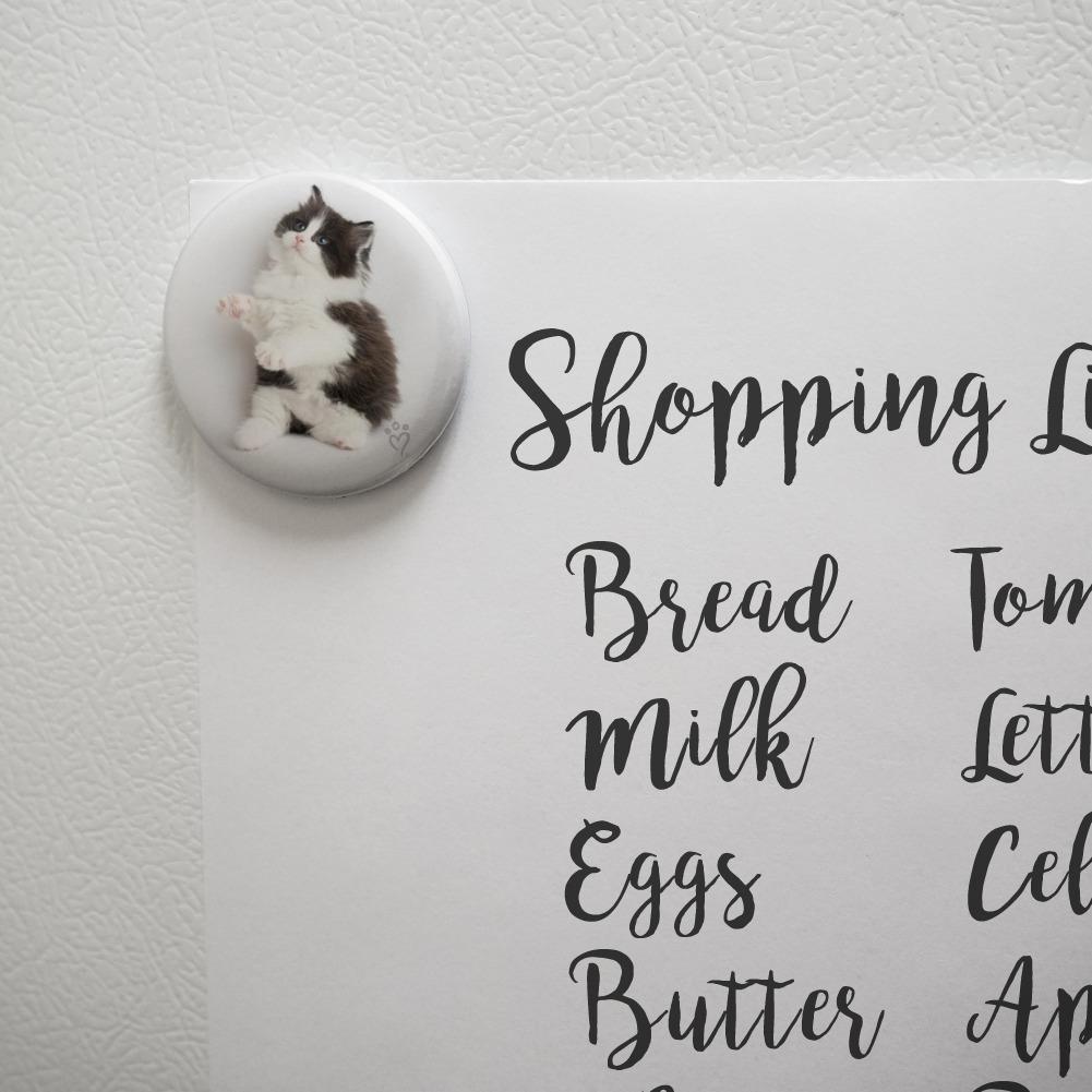 Persian Kitten Cat Black White Kitchen Refrigerator Locker Button Magnet