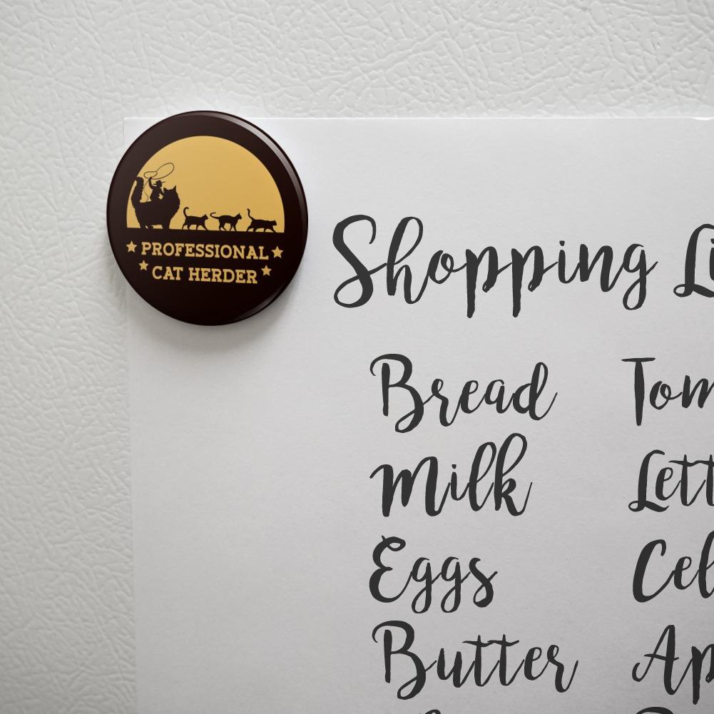 Professional Cat Herder Funny Kitchen Refrigerator Locker Button Magnet
