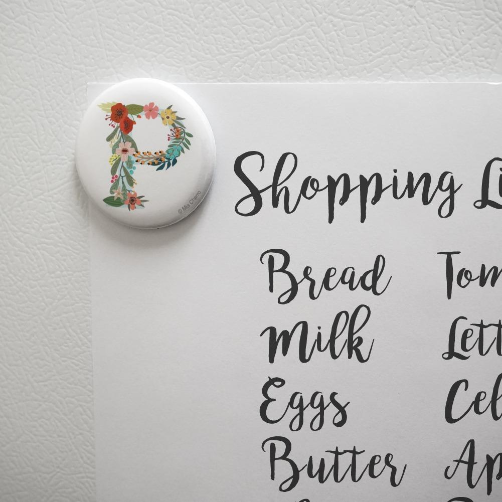 Letter P Floral Monogram Initial Kitchen Refrigerator Locker Button Magnet