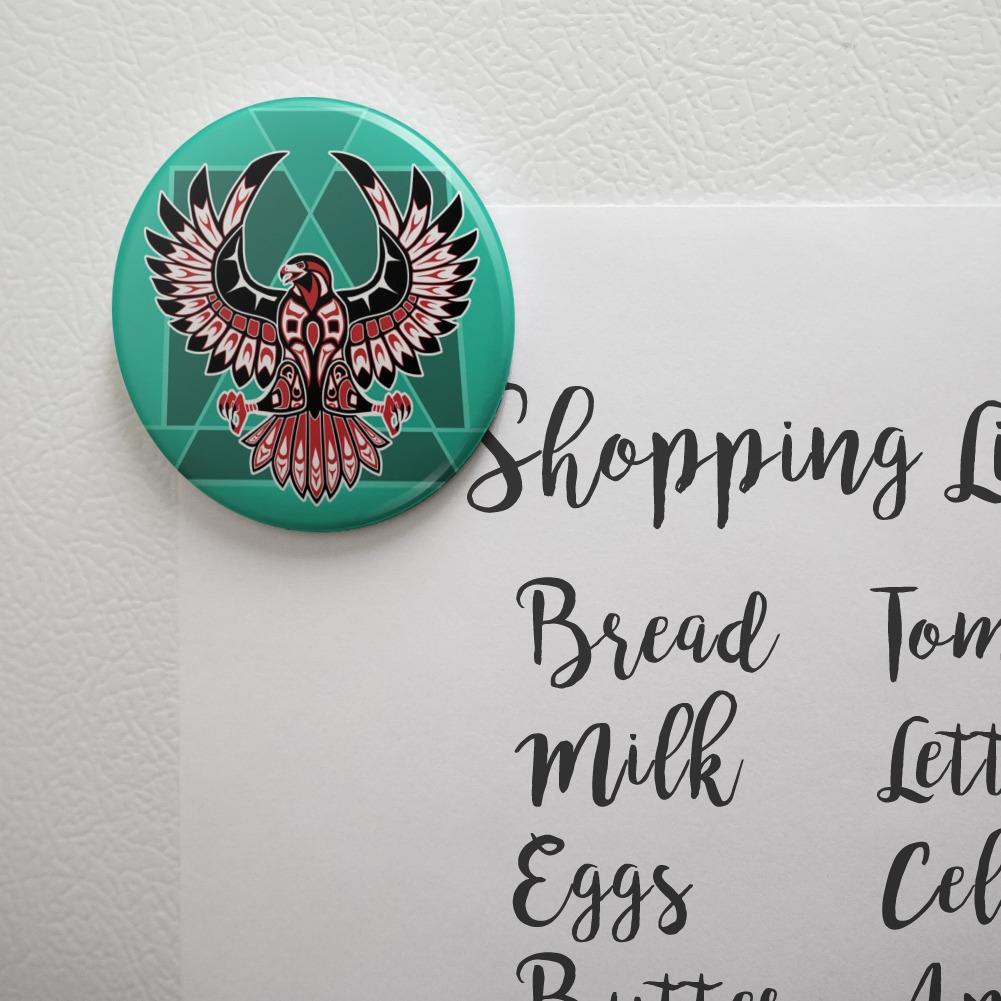 Black Hawk Native American Design Style Button Refrigerator Magnet
