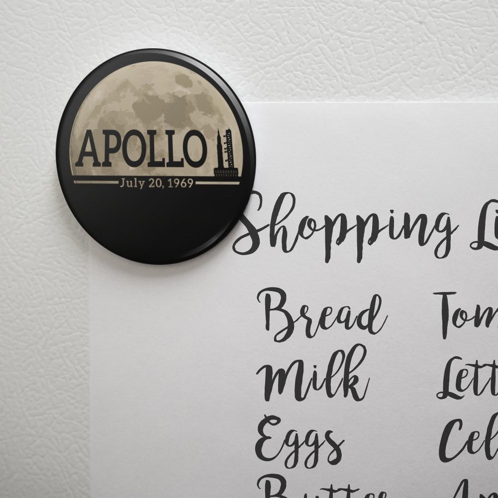 NASA Apollo 11 Moon with Saturn V Kitchen Refrigerator Locker Button Magnet