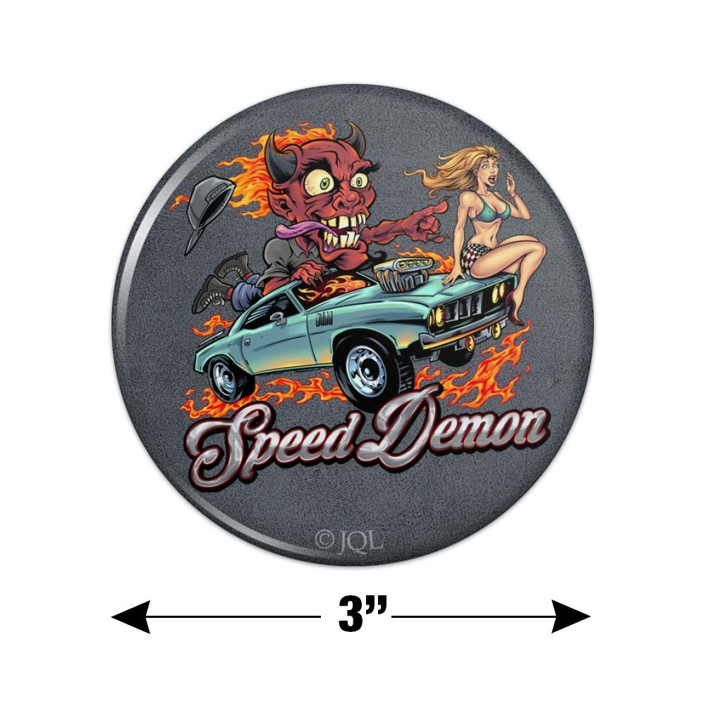 Speed Demon Flaming Hot Rod Kitchen Refrigerator Locker Button Magnet