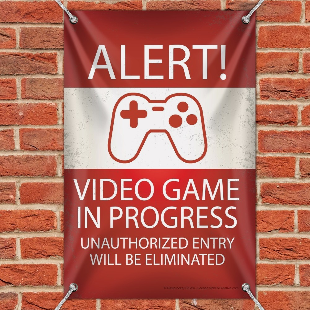 Alert Video Game In Progress Funny Home Business Office Sign