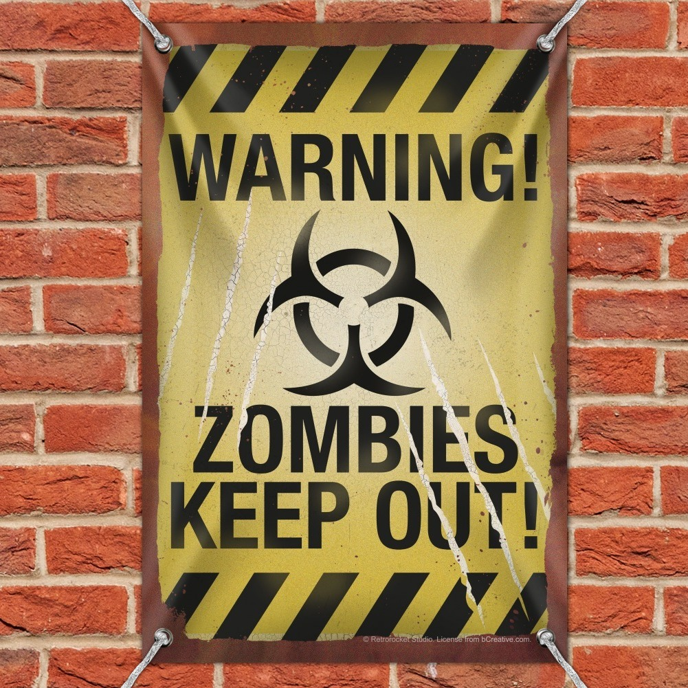 Warning Zombies Keep Out Home Business Office Sign