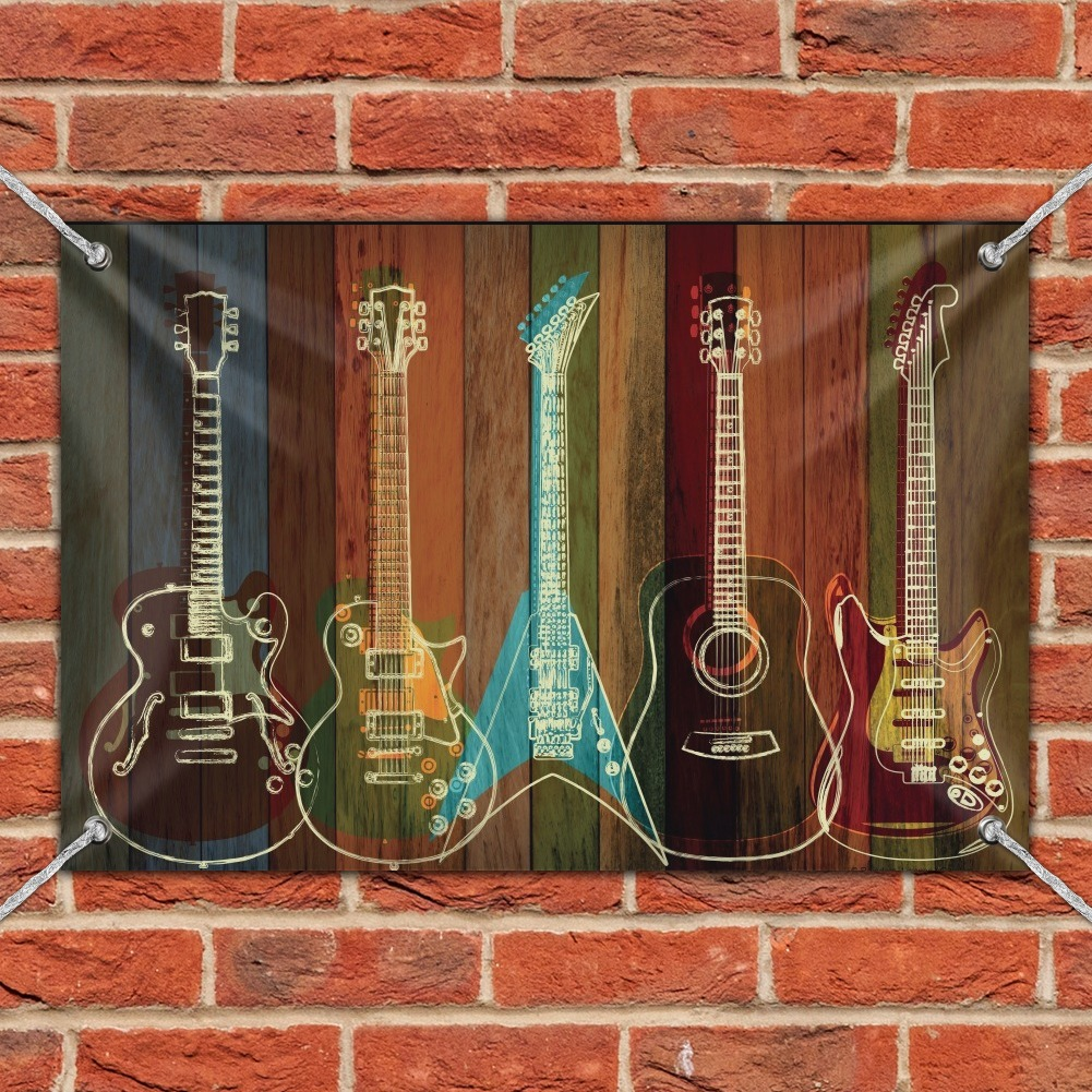 Guitars Electric Acoustic Rock and Roll Wood Paneling Home Business Office Sign