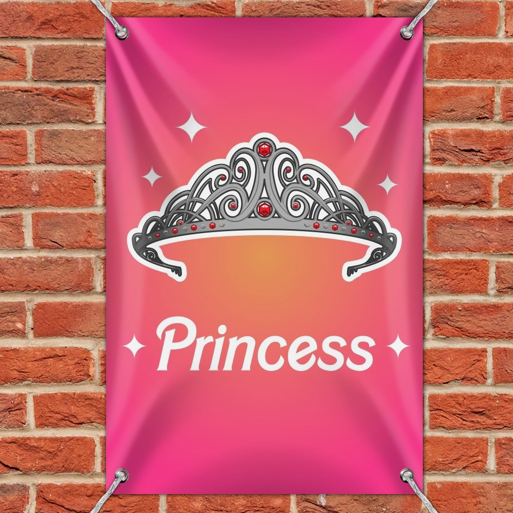 Princess Crown Tiara Pink Background Home Business Office Sign
