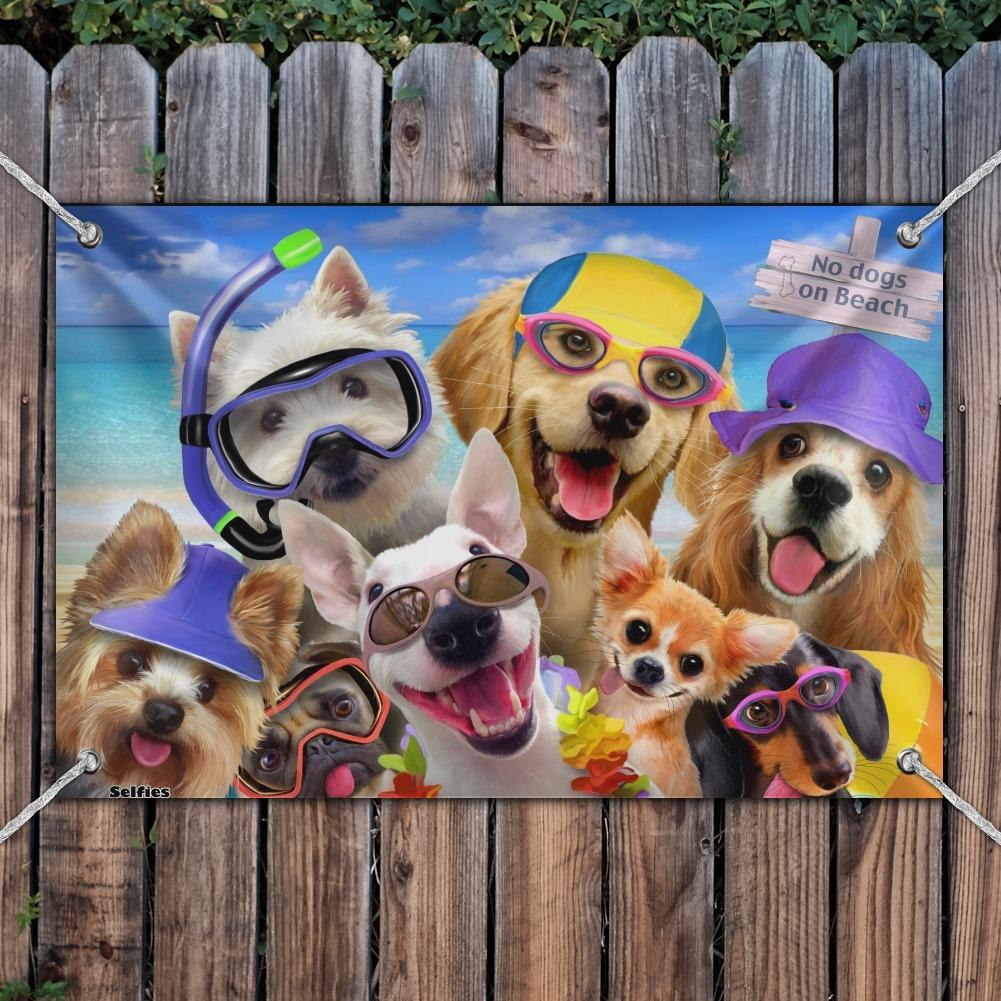 No Dogs on Beach Selfie Golden Retriever Westie Pug Home Business Office Sign