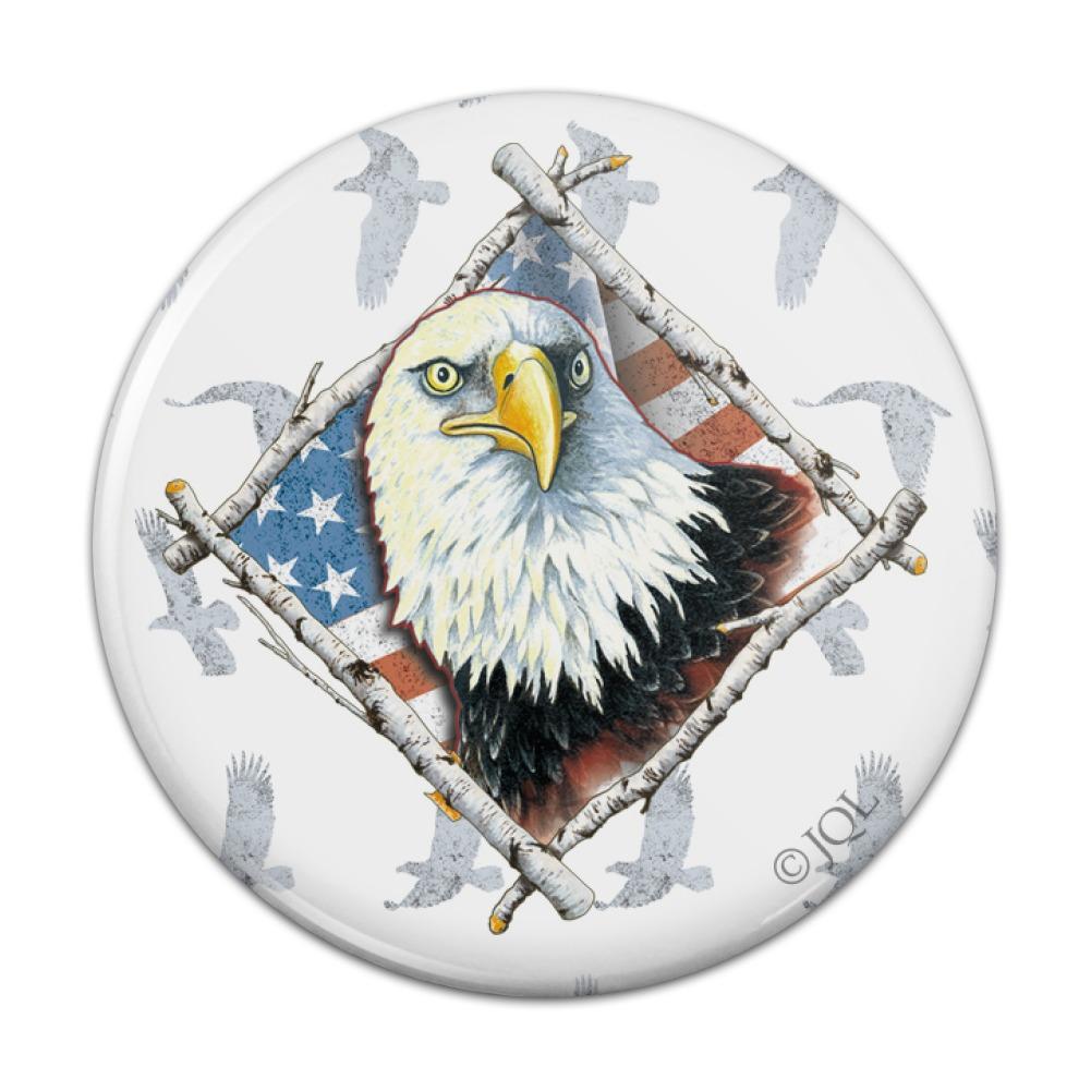 Patriotic Bald Eagle Diamond Usa Flag Compact Pocket Purse Hand