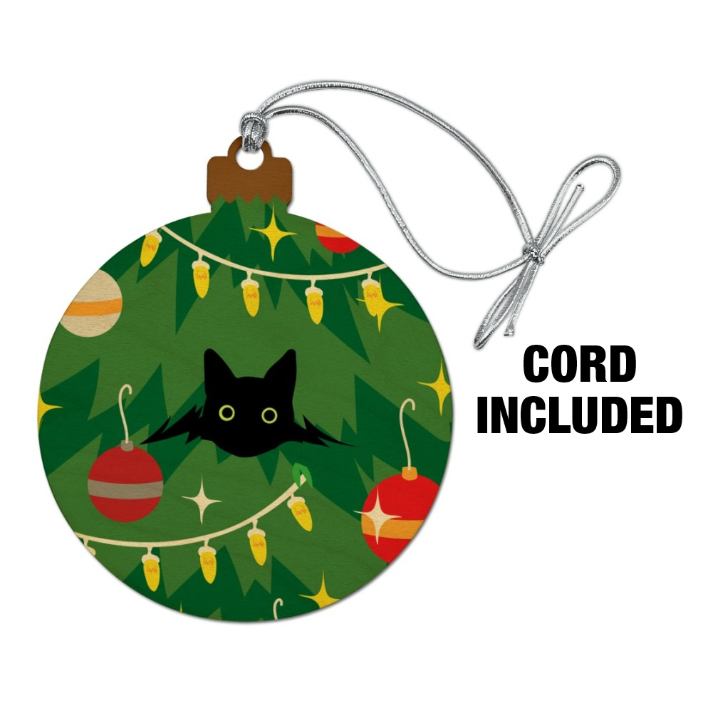 Christmas Tree Made Of Black Cats: Black Cat Hiding In Christmas Tree Wood Christmas Tree
