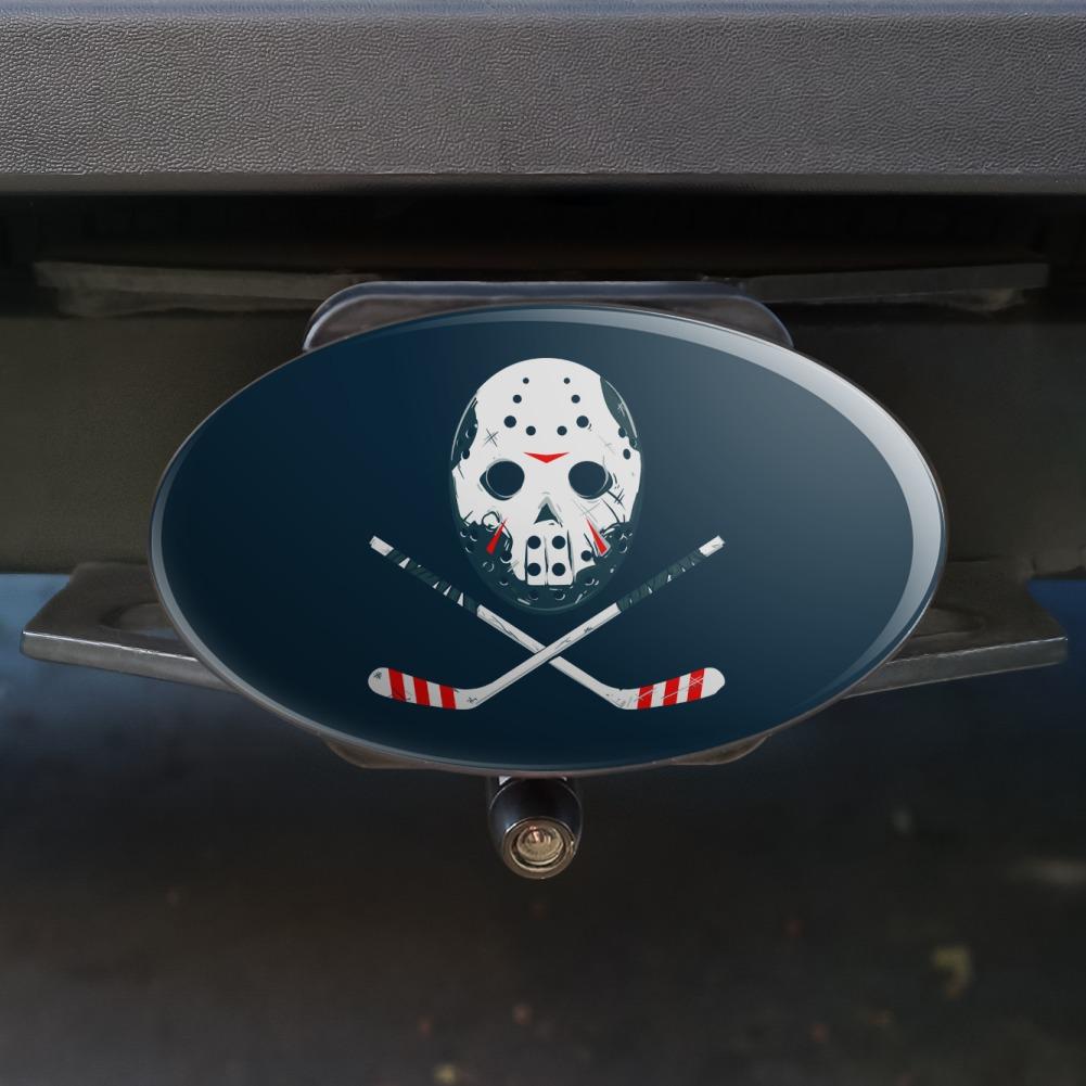Hockey Mask Skull Crossbones Stick Oval Tow Trailer Hitch Cover Plug Insert