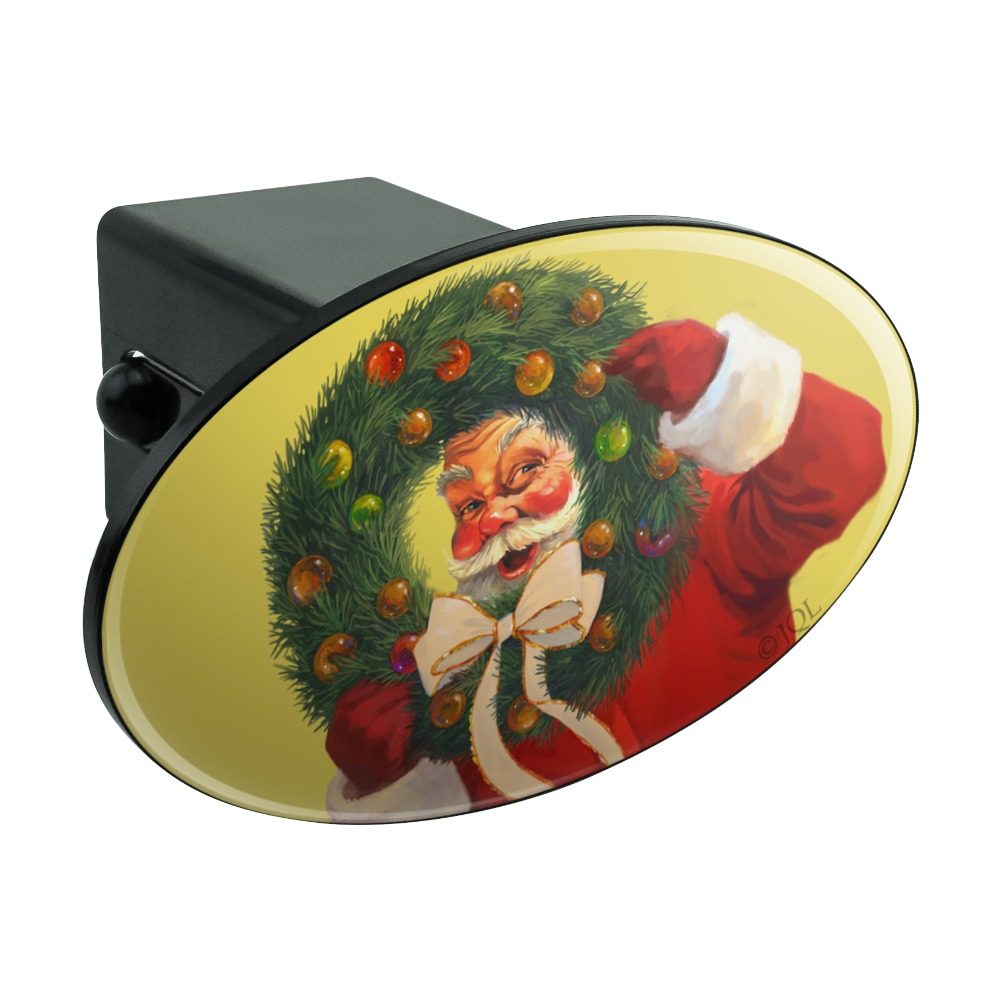 Christmas-Santa-Wreath-Ribbon-Swirl-Oval-Tow-Trailer-Hitch-Cover-Plug-Insert