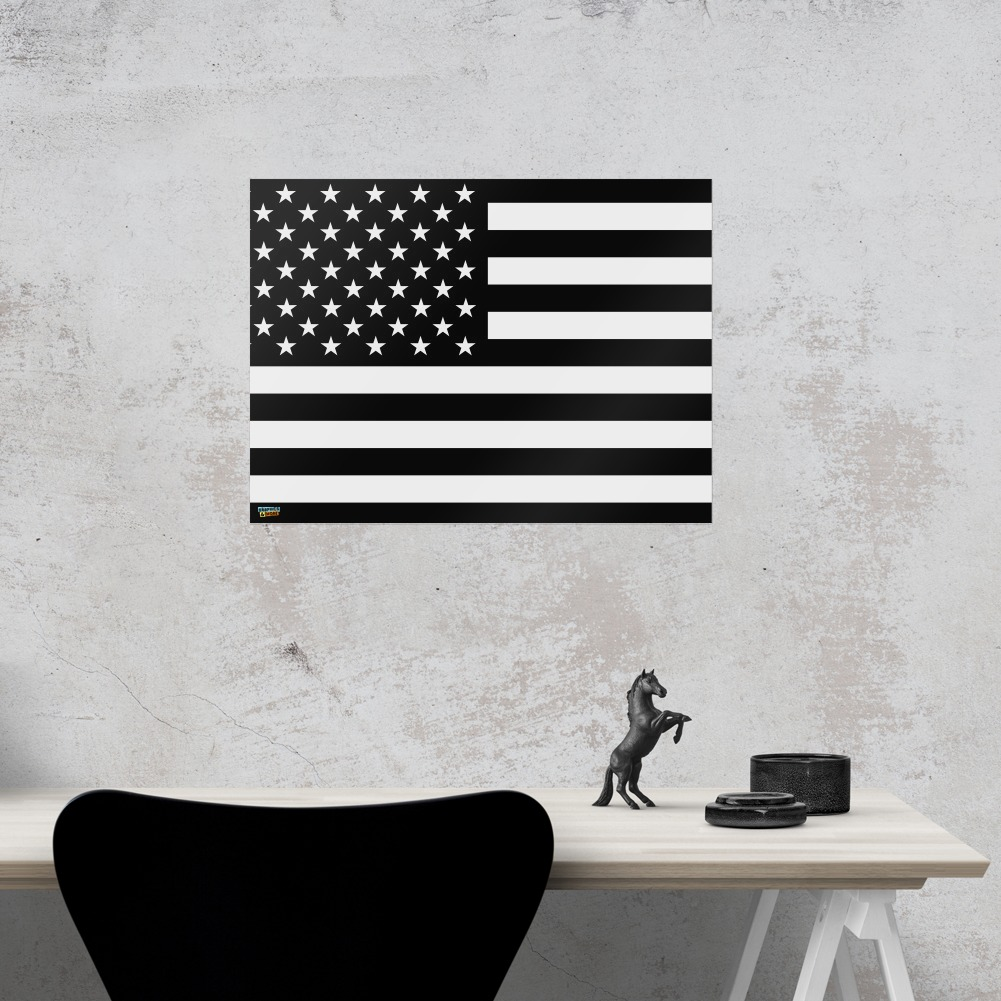 Subdued American USA Flag Black White Home Business Office Sign | eBay