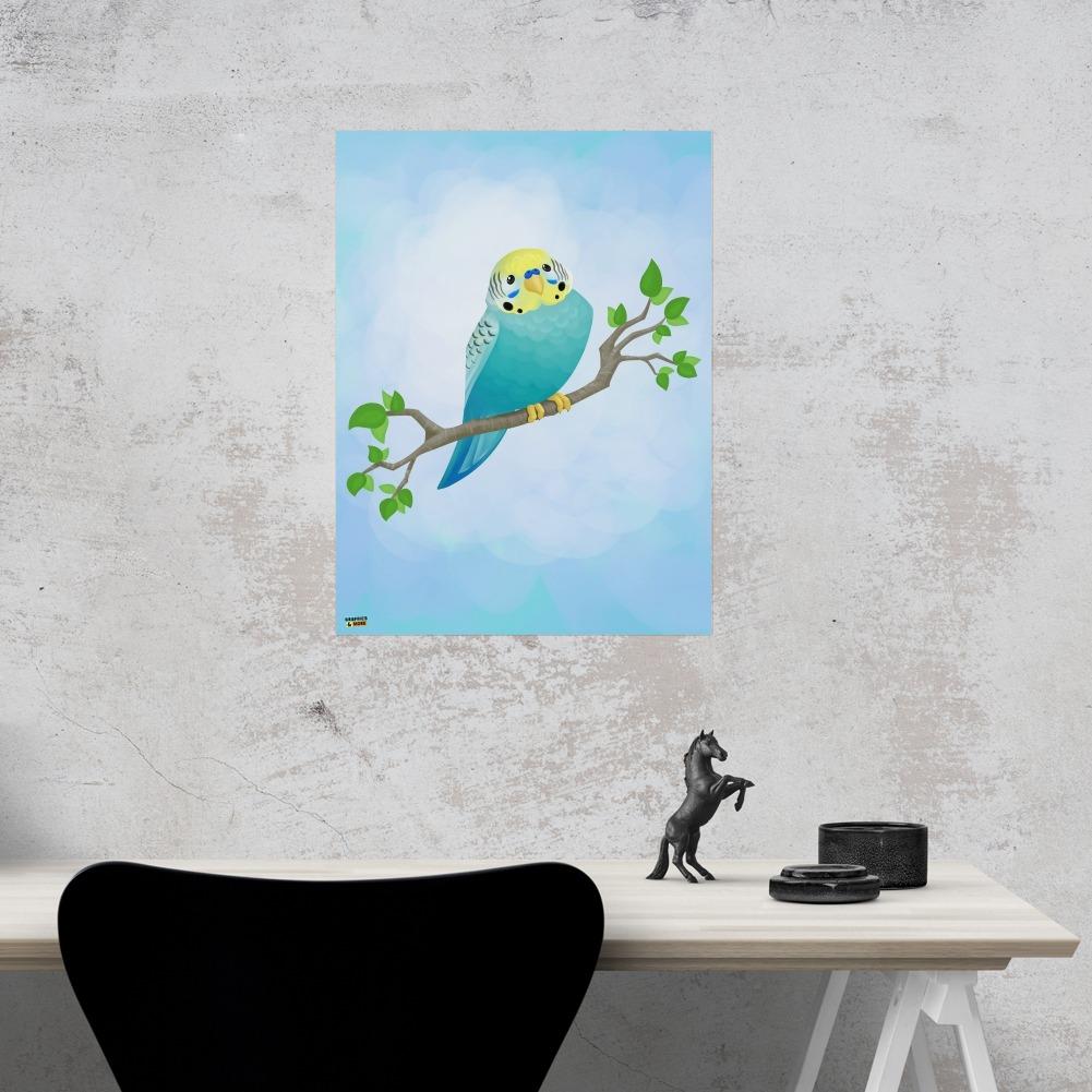 """NEW!~Primitive Wood Color Sign~/""""Parakeet/"""" Bird~Blue//Shelf Sitter//Wall Art"""