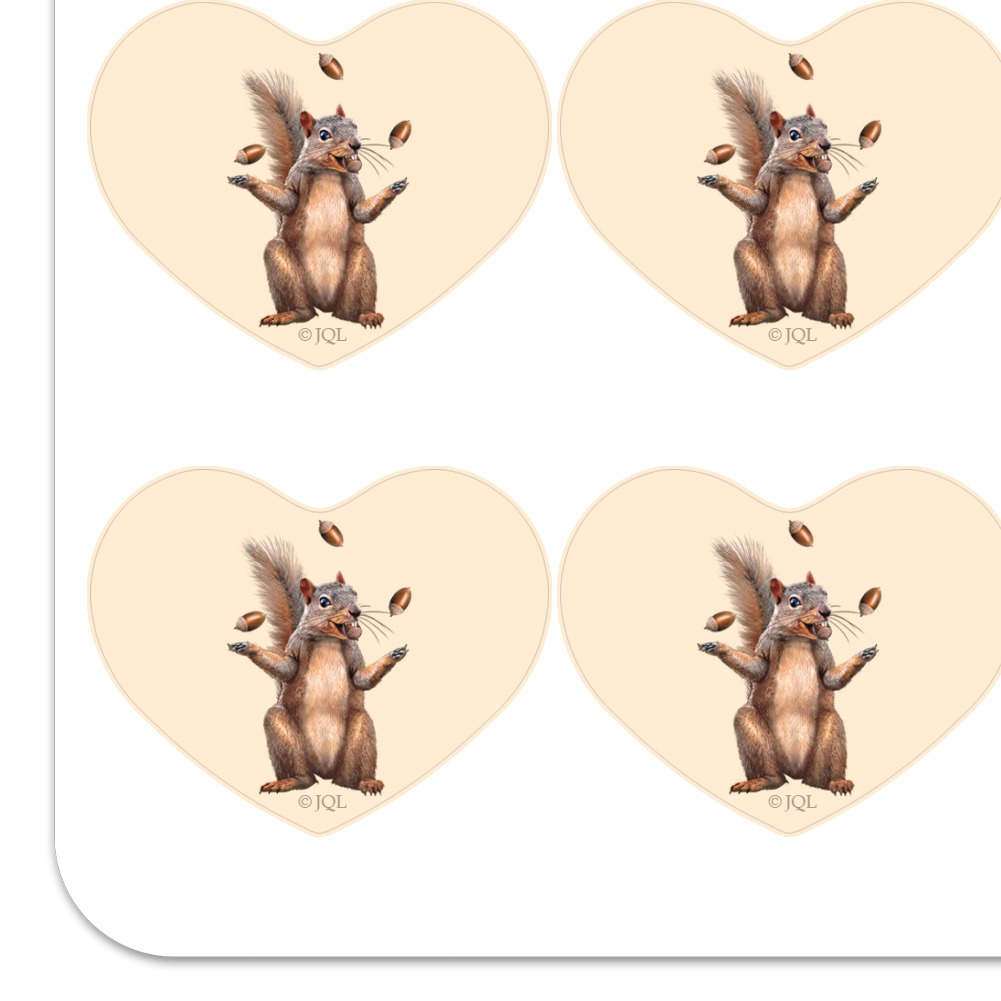 Squirrel Juggling His Nuts Crazy Funny Heart Planner Scrapbook Craft Stickers