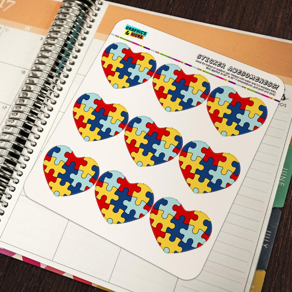 Autism Awareness Puzzle Pieces Heart Planner Scrapbook Craft Stickers