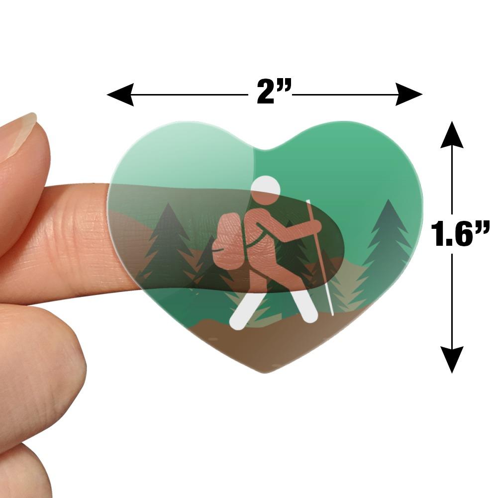 Hiker Hiking Symbol Mountain Nature Heart Planner Scrapbook Craft Stickers
