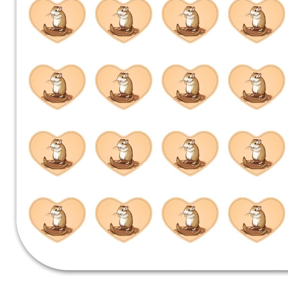 Gerbil Cute Rodent Pet Heart Shaped Planner Calendar Scrapbook Craft Stickers