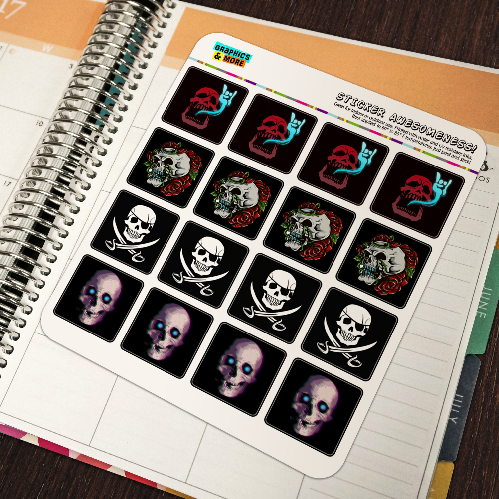 Skulls Pirate Rock and Roll Roses Planner Scrapbook Square Stickers