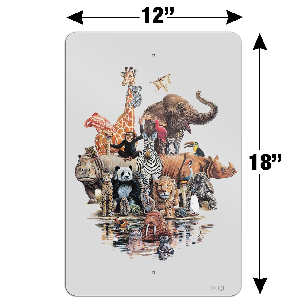 Diverse Animal Family Reunion Elephant Home Business Office Sign