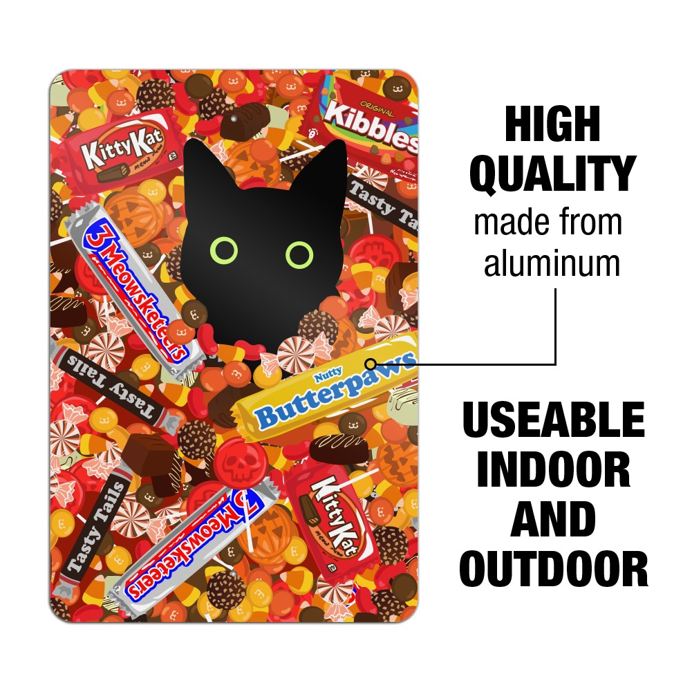 Halloween Black Cat Hiding in Candy  Home Business Office Sign
