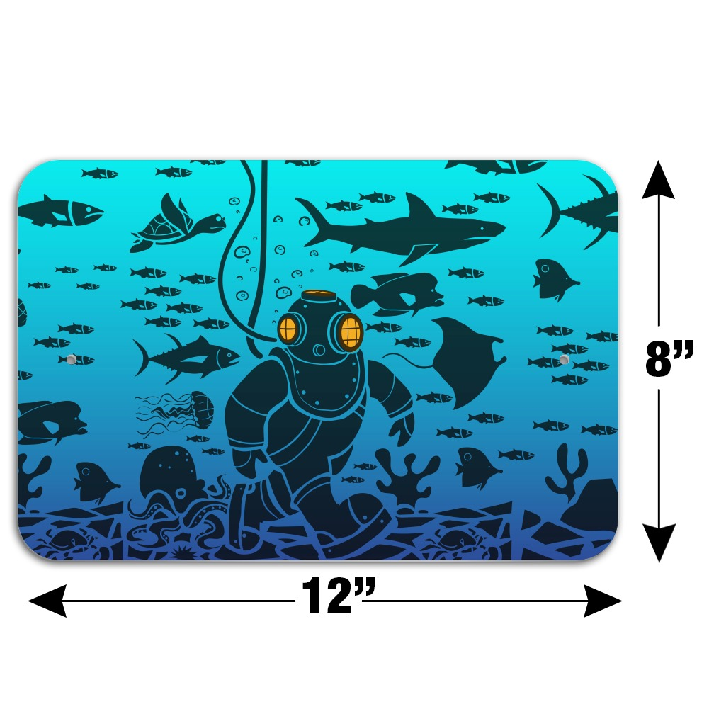 Diver Retro Ocean Sea Diving Home Business Office Sign