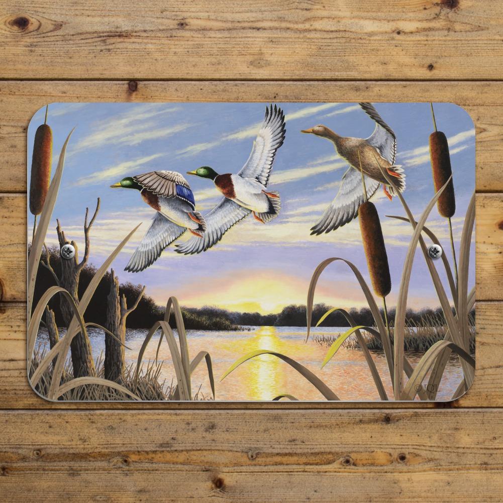 Mallard Ducks Flying Over Pond Lake Painting Home Business