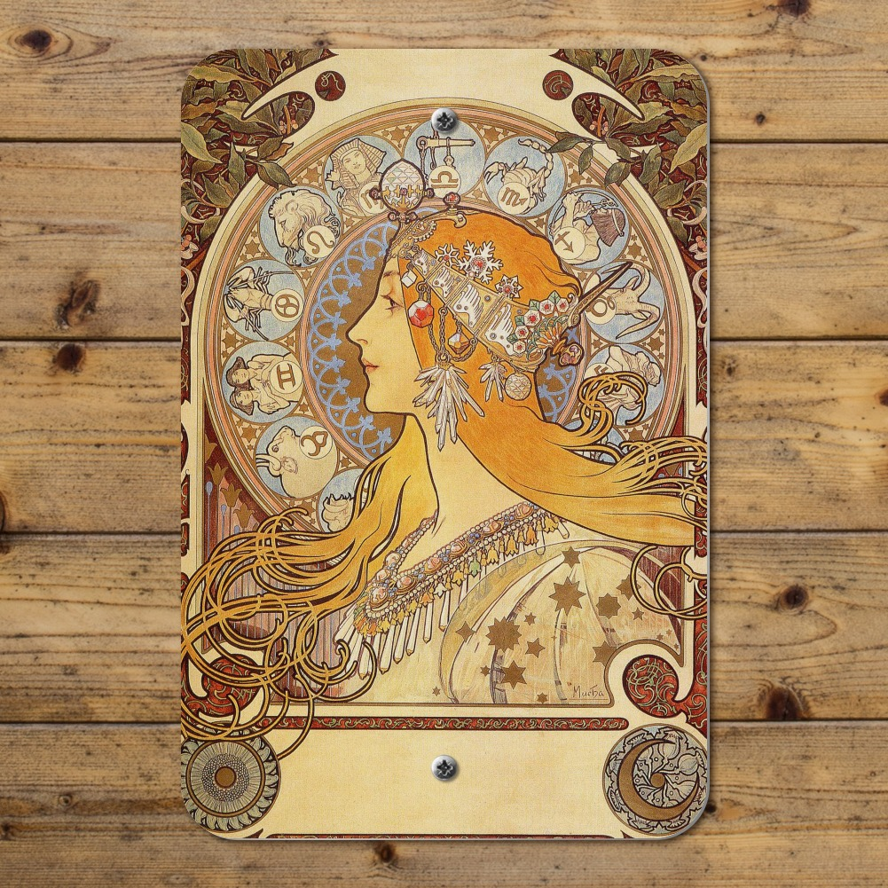 Zodiac Alphonse Mucha Art Nouveau Home Business Office Sign