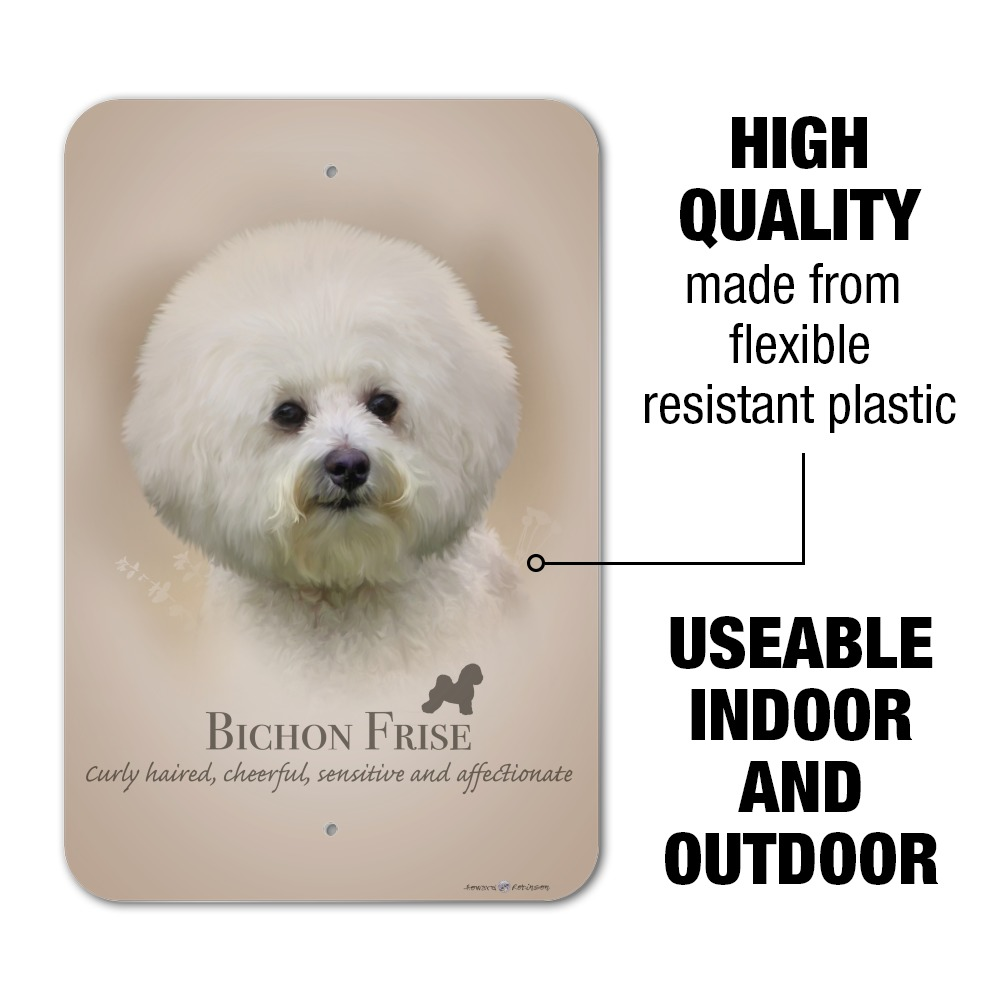 Little Gifts Laminated Welcome Door Sign BICHON FRISE Dog Lovers Wooden Puppy