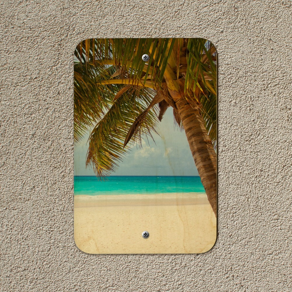 Tropical Palm Tree Ocean Beach Home Business Office Sign