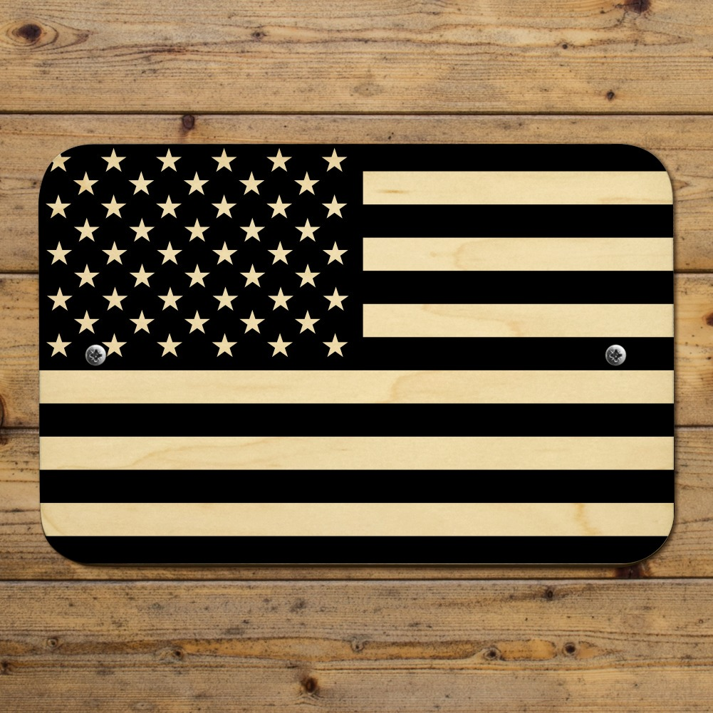 Subdued American USA Flag Black White Home Business Office Sign