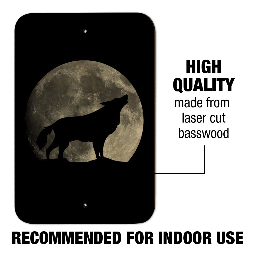 Wolf Howling Moon Silhouette Home Business Office Sign