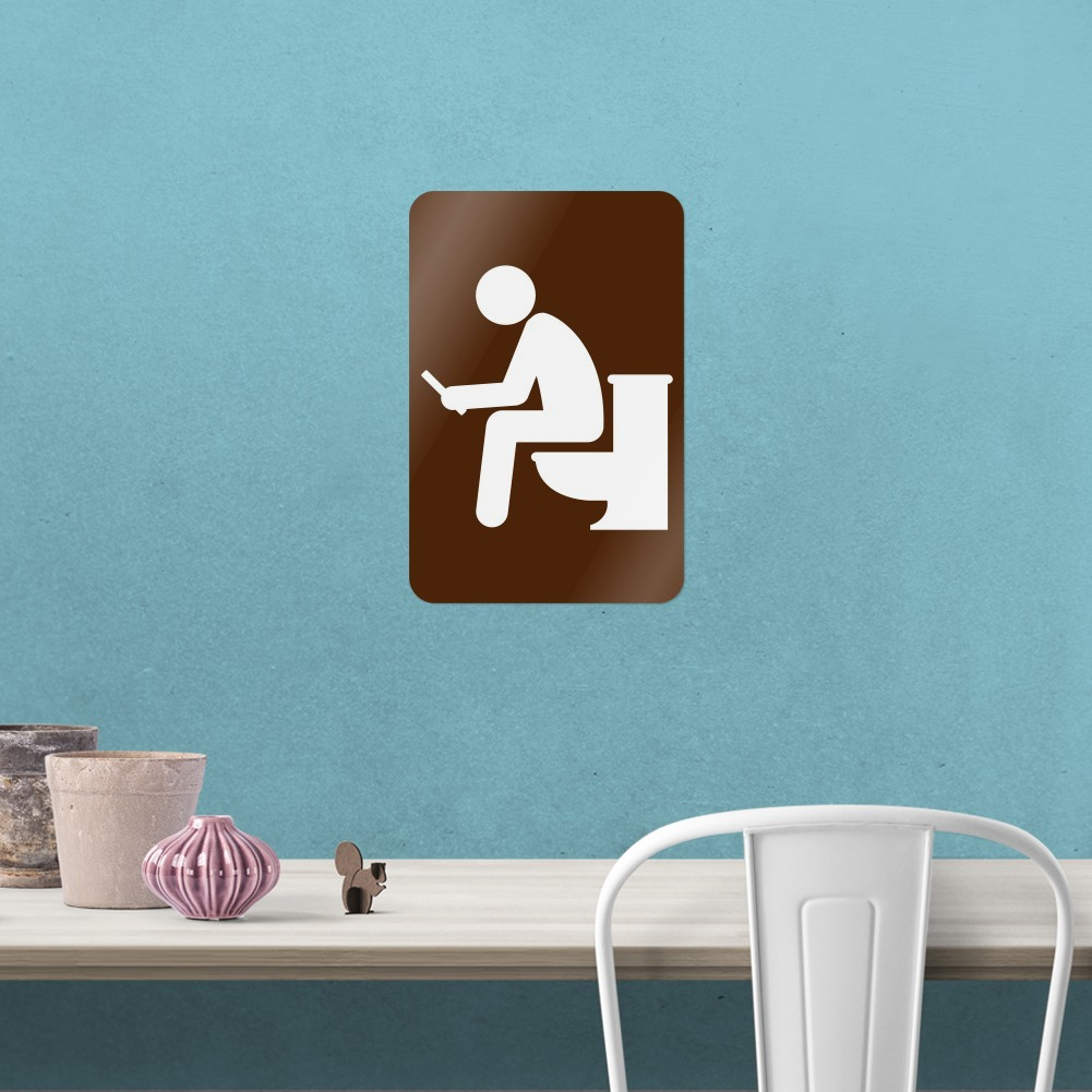 Man Pooping On Toilet Funny Home Business Office Sign