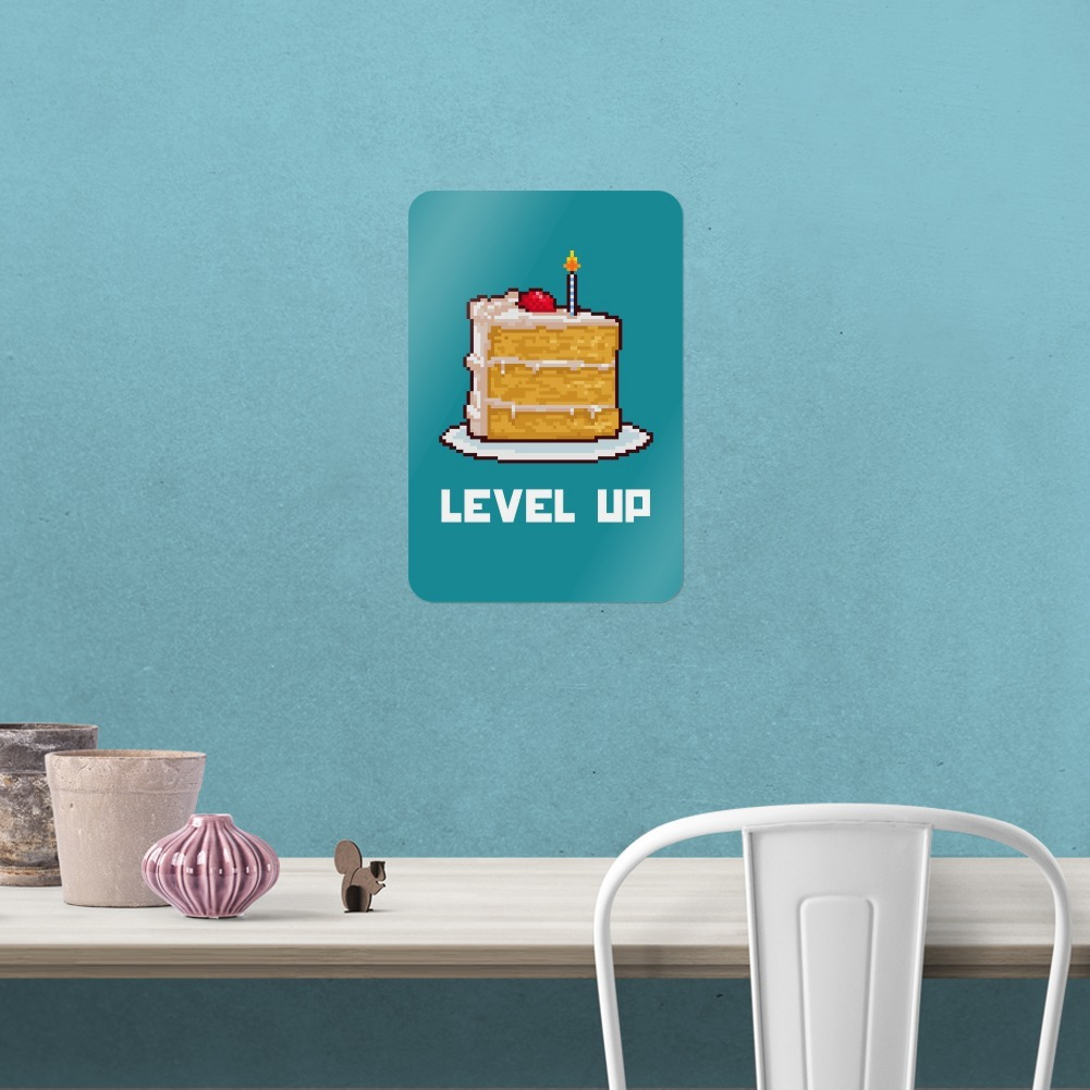 8-Bit Pixel Retro Cake Level-up Game Gamer Home Business Office Sign ...