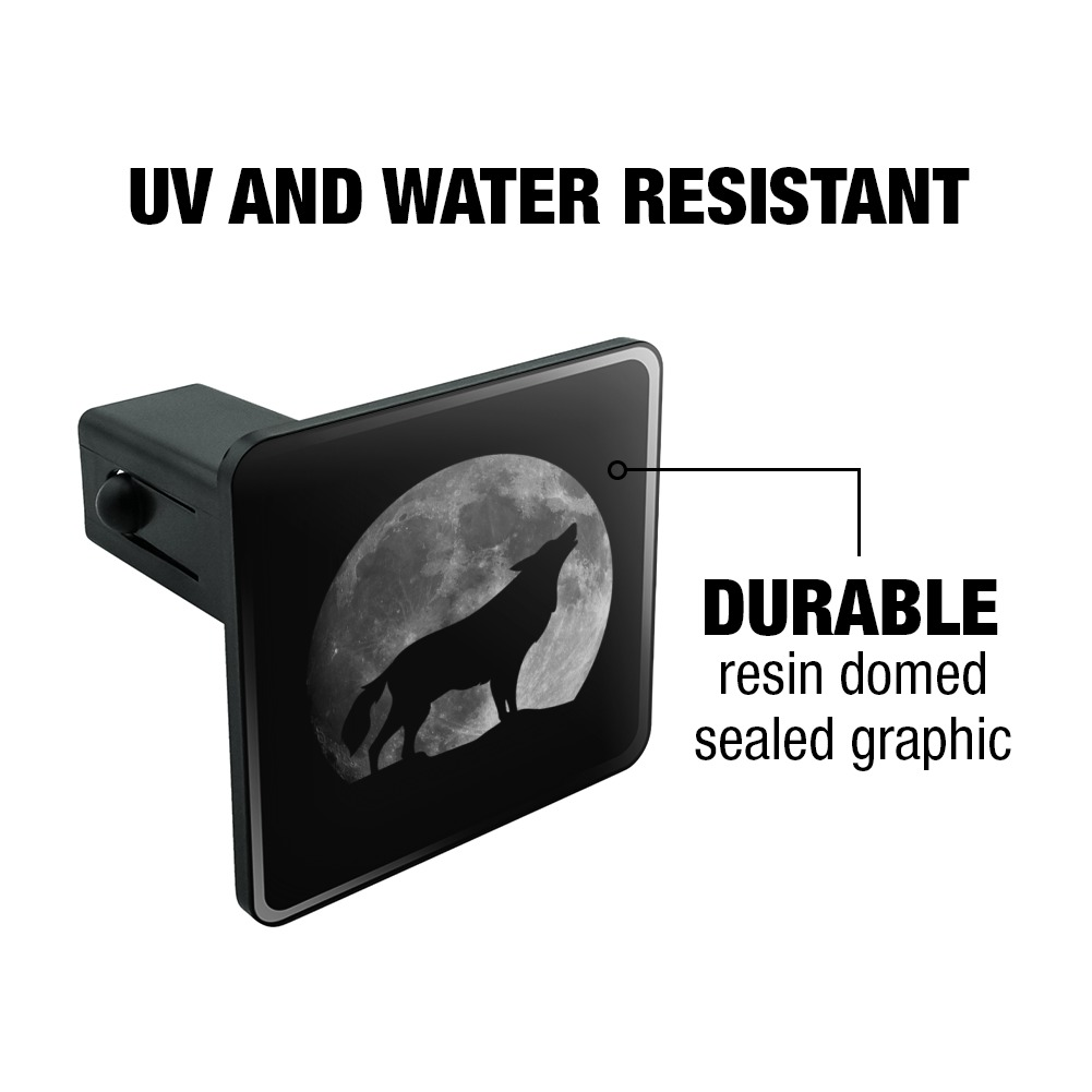 Wolf Howling Moon Silhouette Tow Trailer Hitch Cover Plug Insert