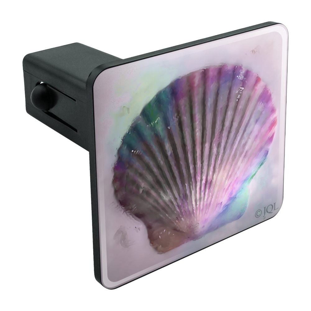 Shell-Watercolor-Beach-Sand-Tropical-Tow-Trailer-Hitch-Cover-Plug-Insert