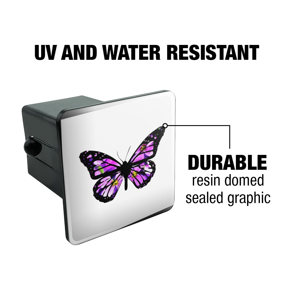 Butterfly with Flowers Tow Trailer Hitch Cover Plug Insert