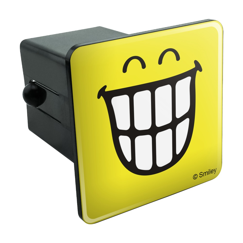 Smiley-Big-Toothy-Smile-Happy-Yellow-Face-Tow-Trailer-Hitch-Cover-Plug-Insert
