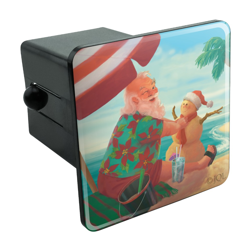 Christmas-Holiday-Santa-Claus-Beach-Vacation-Tow-Trailer-Hitch-Cover-Plug-Insert