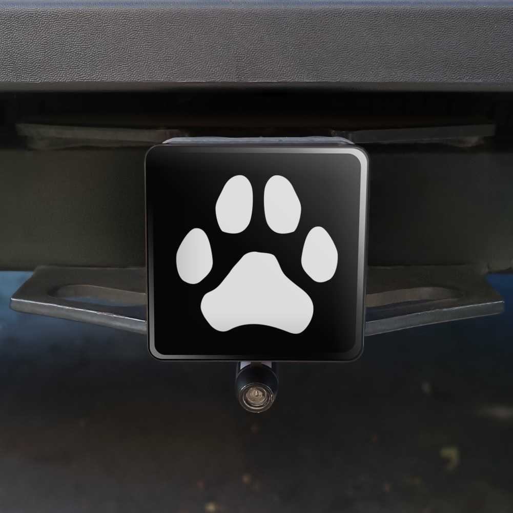 Paw-Print-Dog-Cat-White-on-Black-Tow-Trailer-Hitch-Cover-Plug-Insert
