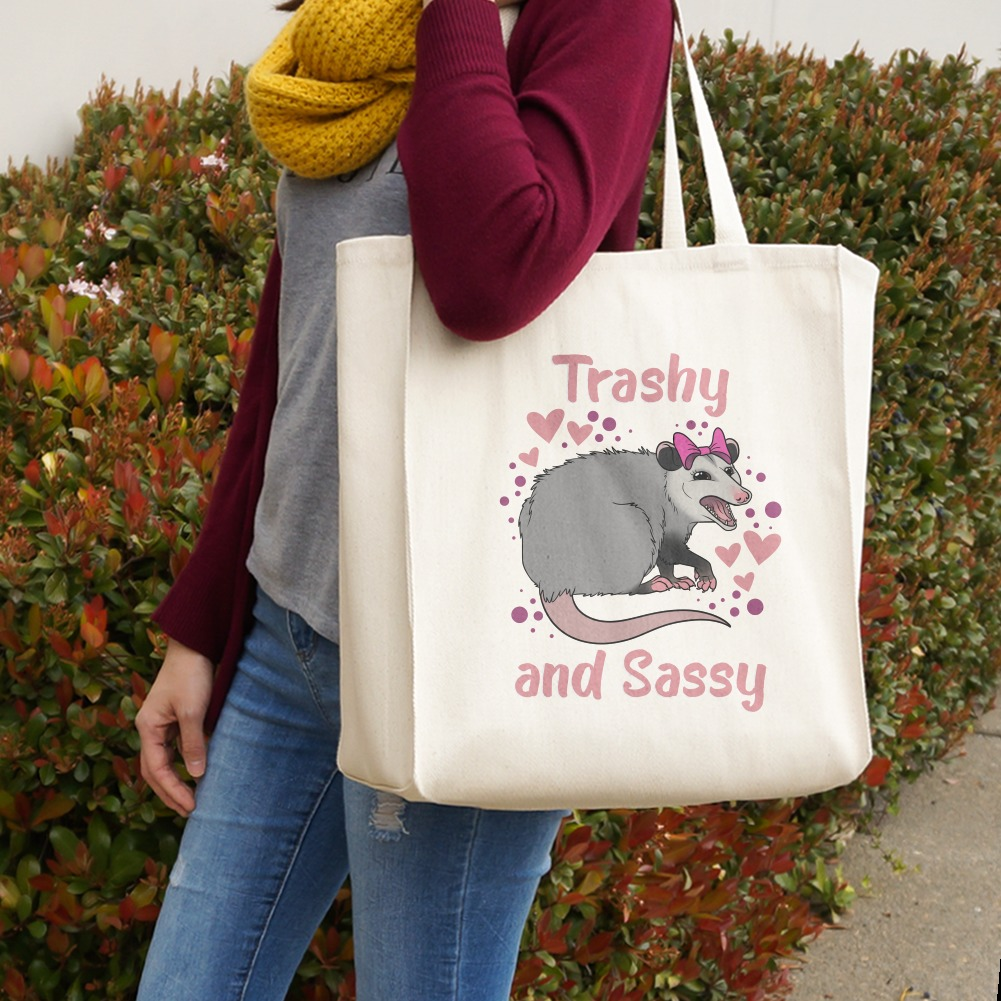 Trashy and Sassy Opossum Funny Grocery Travel Reusable Tote Bag