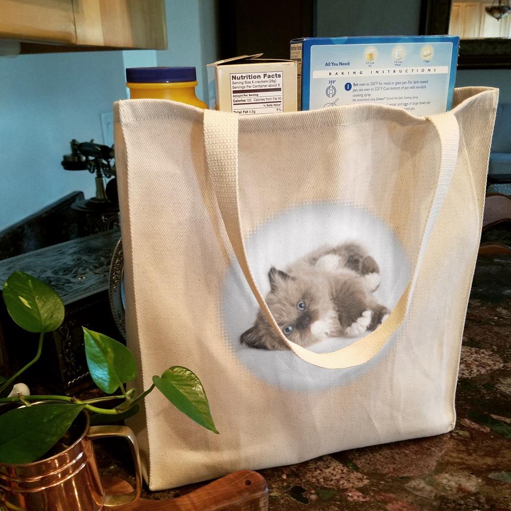 Miradoll Ragdoll Kitten Cat Brown Lazy Grocery Travel Reusable Tote Bag