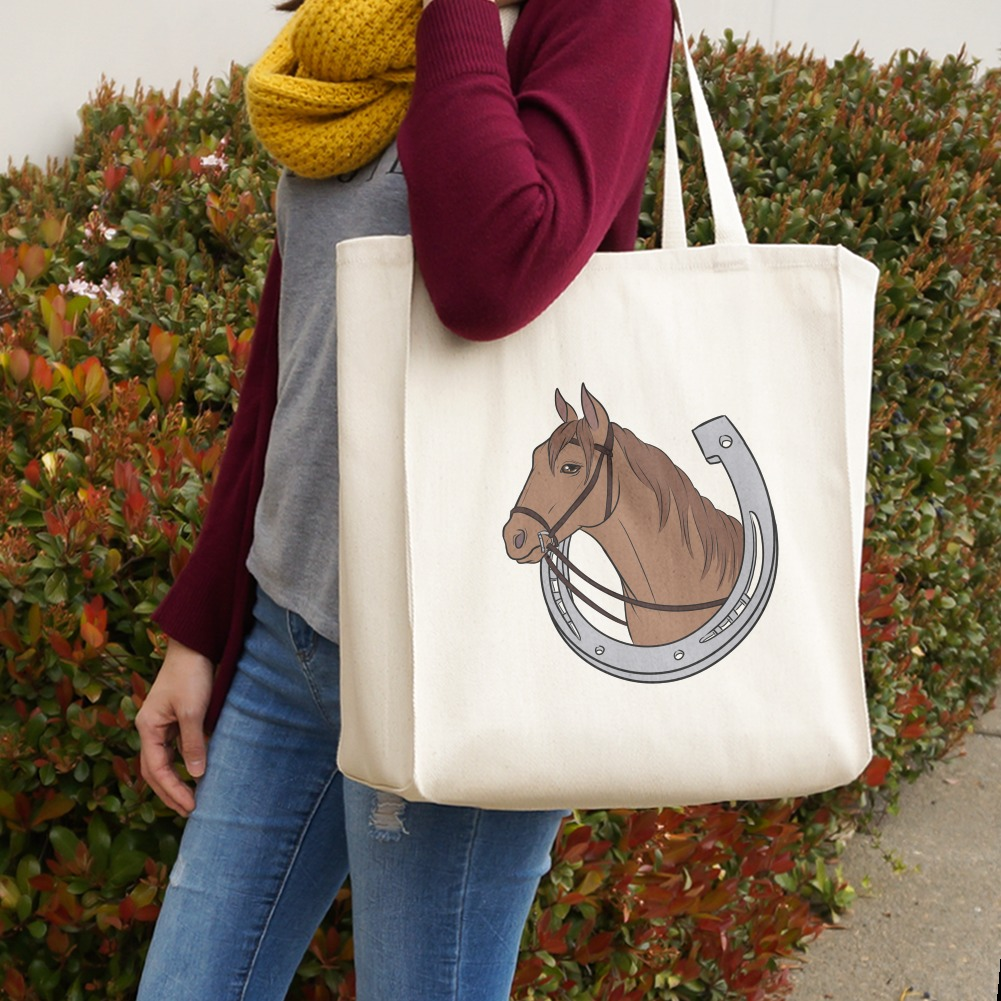 Brown Horse in Horseshoe Grocery Travel Reusable Tote Bag